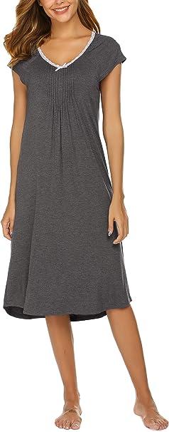 UNibelle - Camisón de Mujer de Manga Corta, de algodón, para ...
