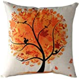 Koly Pastoral Style Tree of Life Cotton Linen Decorative Throw Pillow Cover Cushion Case (Orange)
