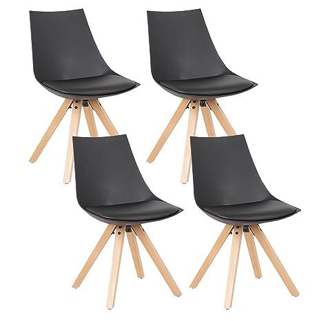 Woltu 4 x sillas de Comedor Juego de 4 Silla de Comedor, Asiento de ...