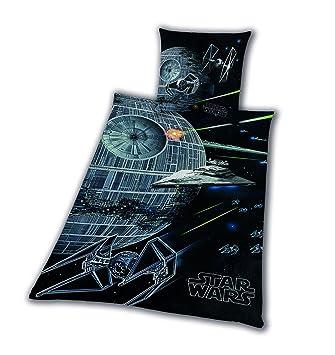 Bettwäsche Glatt Star Wars 8 Todesstern Rey Finn Tico Yoda 135 X 200