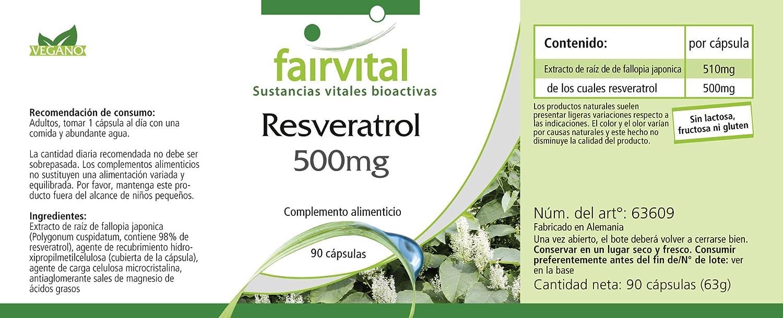 fairvital - 90 cápsulas de resveratrol - 500 mg: Amazon.es: Salud y cuidado personal