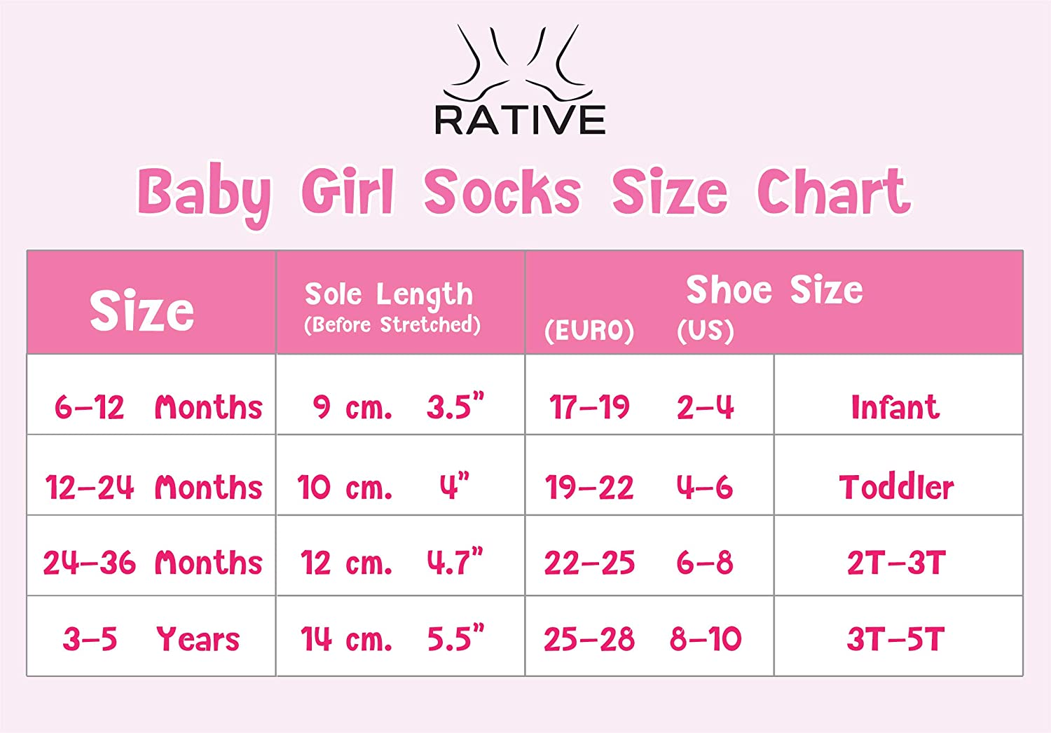 3-5 Years, RG-726727 RATIVE Non Skid Anti Slip Cotton Dress Crew Socks with Grips for Baby Infant Toddler Kids Girls