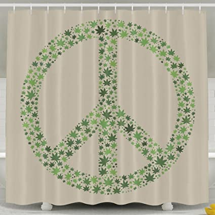 Peace Sign Shower Curtain With Hooks 60x72inches