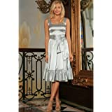Derby Clothes Silver Grey Fit & Flare Ruffle Prom Party Midi Dress With Belt - Women