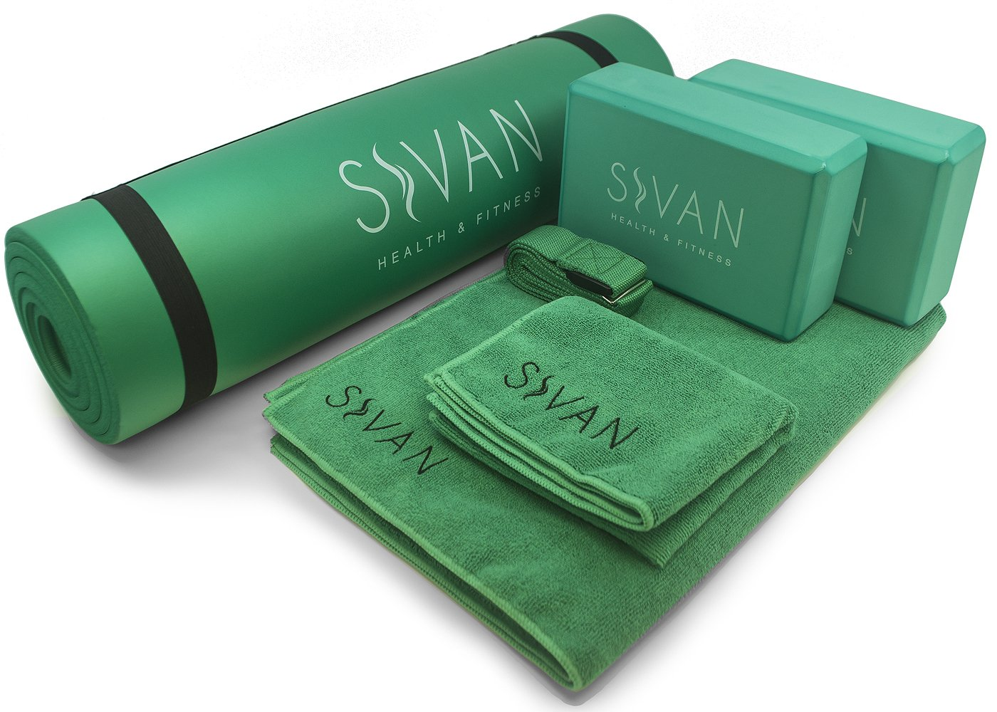 Sivan 6-Piece Yoga Set- Includes 1/2'' Ultra Thick NBR Exercise Mat, 2 Yoga Blocks, 1 Yoga Mat Towel, 1 Yoga Hand Towel and a Yoga Strap (Green)