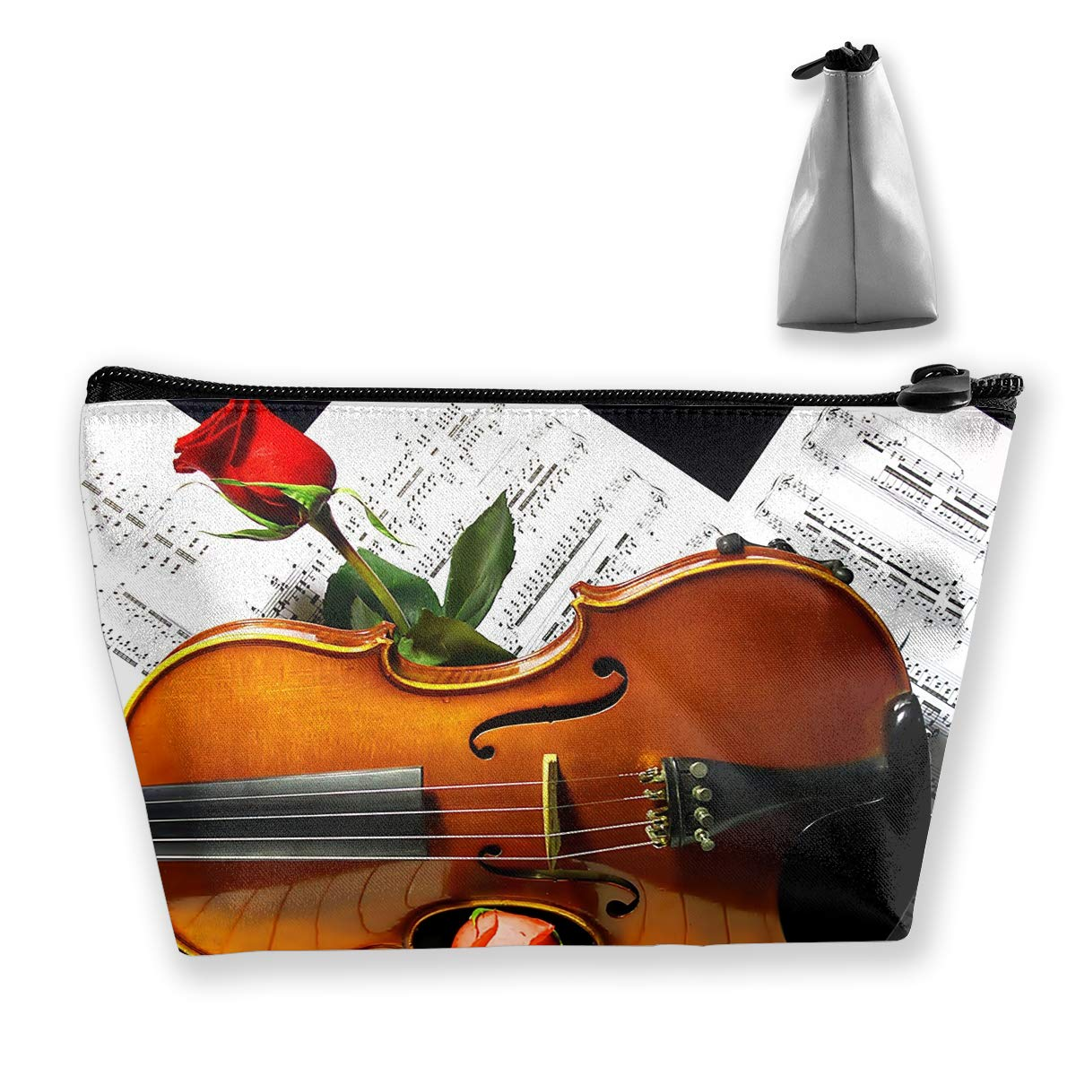Trapezoid Toiletry Pouch Portable Travel Bag Piano Violin Clutch Bag