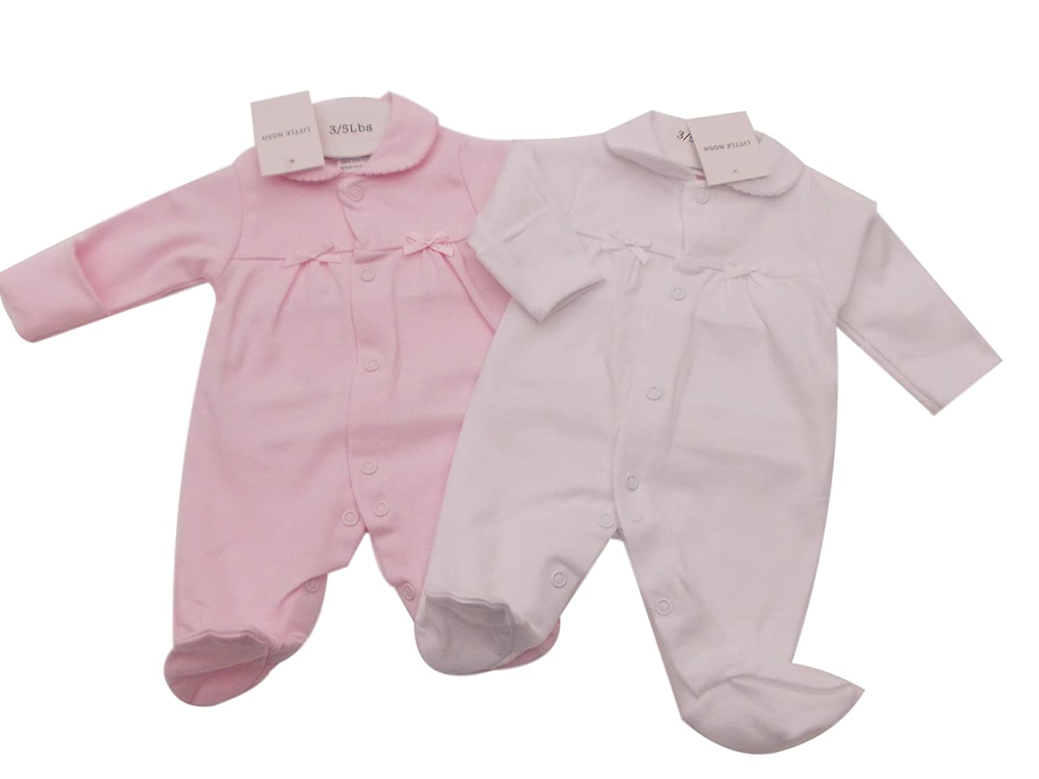 BNWT Tiny Baby NB Premature Preemie Baby white or pink cotton sleepsuit Clothes Pink)