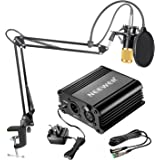Neewer NW-800 Condenser Microphone Kit - Gold Mic, Black 48V Phantom Power Supply,NW-35 Boom Scissor Arm Stand with Shock Mount and Pop Filter, XLR Male to Female Cable for Home Studio Recording