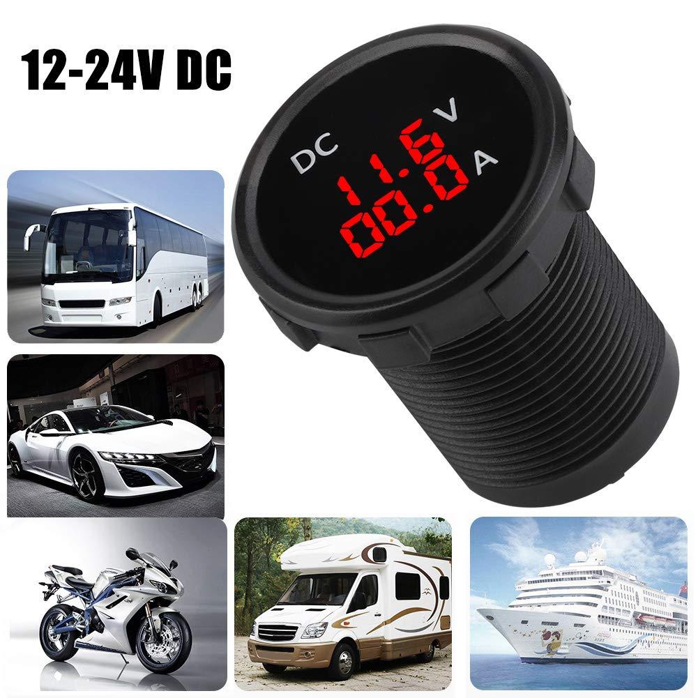 Pantalla LED roja KIMISS 12-24V Volt/ímetro digital para el barco de la motocicleta del coche Amper/ímetro Medidor de corriente de voltaje