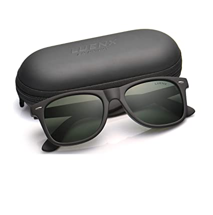 0941d5f9a82 Mens Polarized Sunglasses for Womens UV 400 Protection Grey Green Lens  Matte Black Frame 54MM