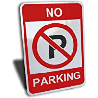 """No Parking Sign, Aluminum, Red, 7"""" by 10"""""""