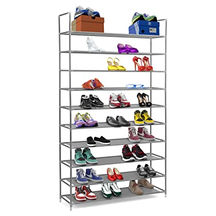 Halter 10 Tier Stainless Steel Shoe Rack / Shoe Storage Stackable Shelves - Holds 50 Pairs Of Shoes - 39.125