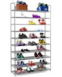 "Halter 10 Tier Stainless Steel Shoe Rack / Shoe Storage Stackable Shelves - Holds 50 Pairs Of Shoes - 39.125"" X 11.125"" X 69.5"" - Gray"