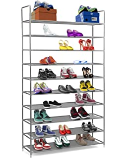 halter 10 tier stainless steel shoe rack shoe storage stackable shelves holds 50 pairs