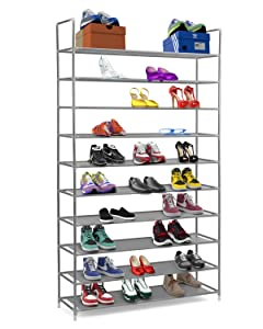 "Halter 10 Tier Stackable Shoe Rack Storage Shelves - Stainless Steel Frame Holds 50 Pairs of Shoes - 39.125"" X 11.125"" X 69.5"" - Gray"