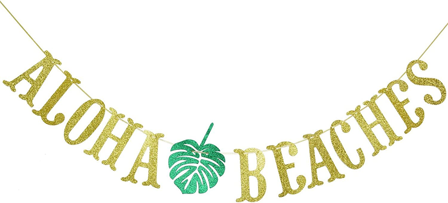 Hawaiian Aloha Beaches Banner Decorations with Palm Leaves Garland for Hawaiian Tropical Luau Beach Summer Party Supplies Decor Favors Bunting Photo Booth Props Sign (Gold & Green Glittery)