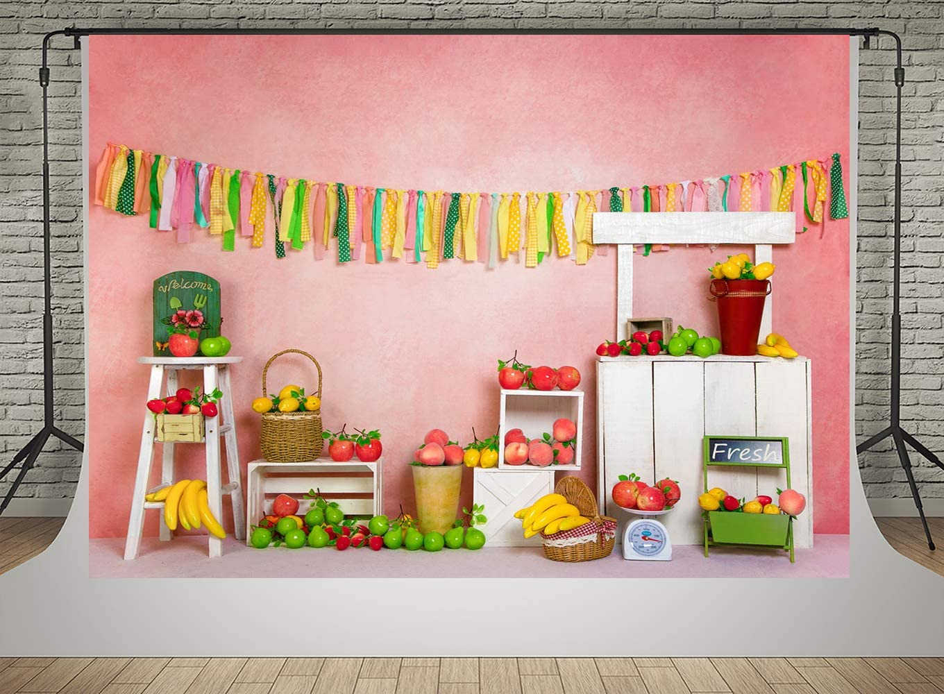 Kate Fruit Shop Apple Lemon Photo Studio Backdrops 7x5ft Pink Wall with Ribbons Decoration Background Birthday Theme Baby Shower Newborn Children Photobooth Props