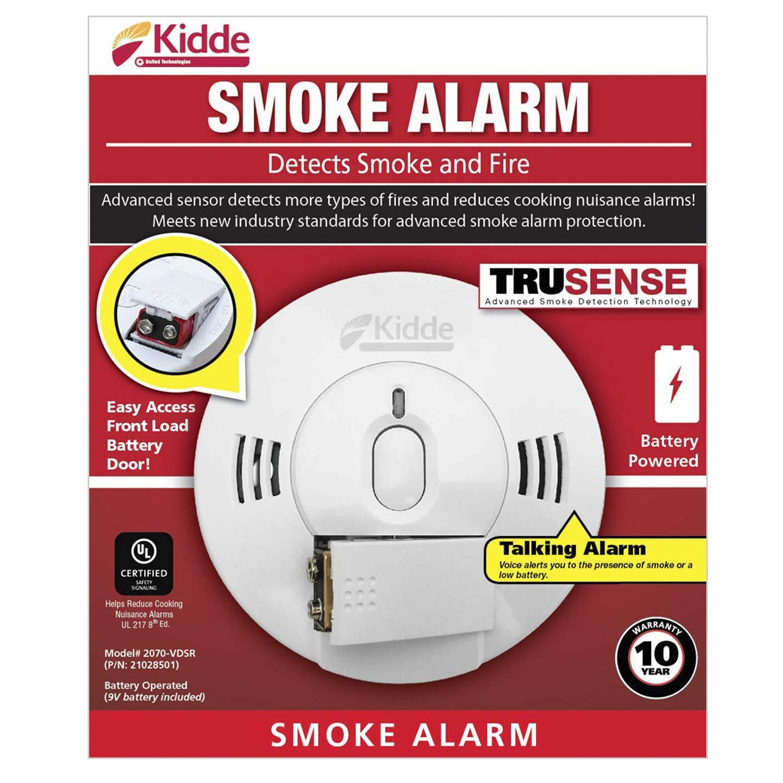 Best Smoke Detector 2020.Kidde 21028501 Dc Smoke Alarm Detector With Trusense Technology Front Load Battery Voice Notification Model 2070 Vdsr White