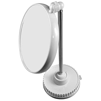 Telescoping Twistmirror 10X To 1X Suction Cup Magnifying Travel Mirror White Base