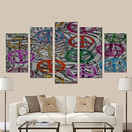 Amazon.com: InterestPrint Peace Signs Over Zebra Canvas Print Wall ...