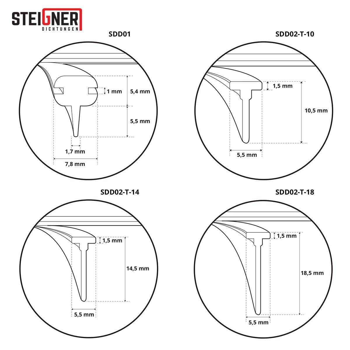 joint en silicone pour la protection contre les fuites deau STEIGNER Joint de douche 190cm SDD02 T-14 transparent