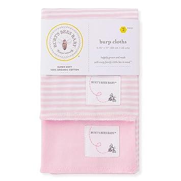 5 pack Burt/'s Bees Baby 100/% Organic Cotton Burp Cloths Soft Pink NEW