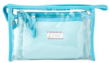 094ac436e279 Amazon.com   Zhoma 3 Piece Waterproof Cosmetic Bag Set - Makeup Bags And Travel  Case - Light Blue   Beauty
