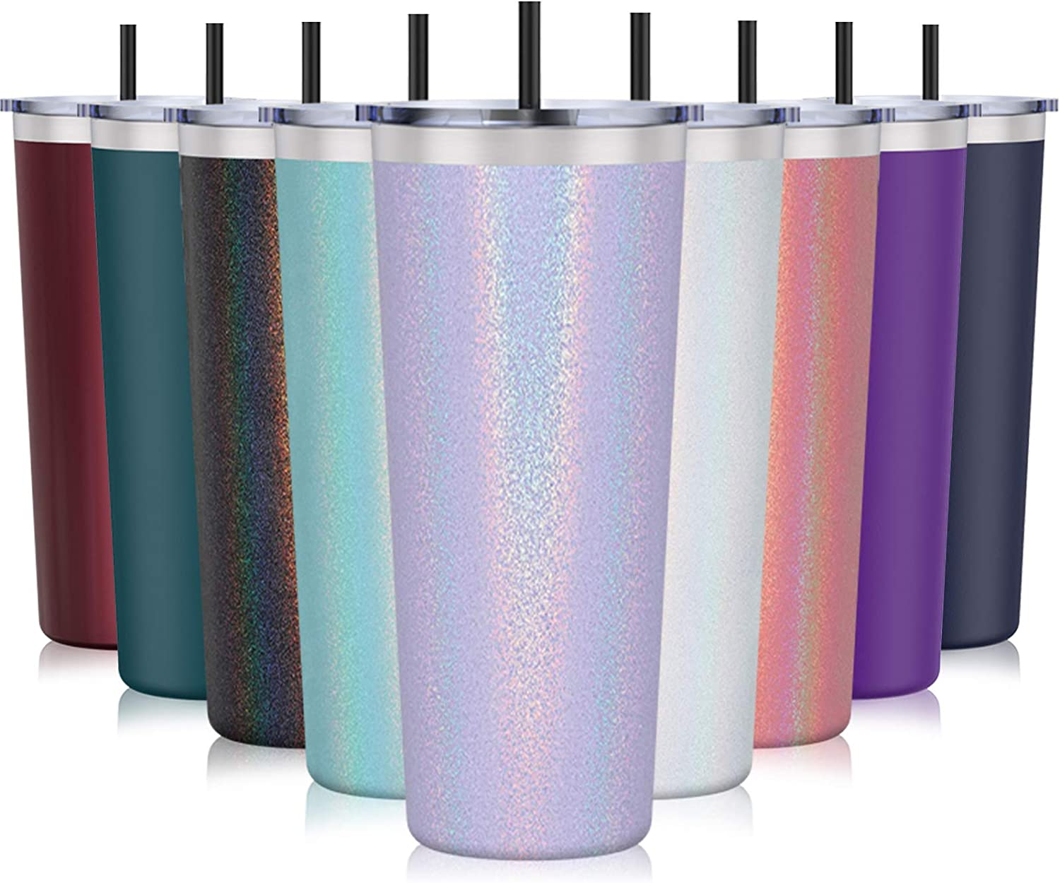 Stainless Steel Tumbler - Aikico 28oz Insulated Travel Tumbler, Double Wall Travel Mug with Splash Proof Lid, Powder Coated Coffee Tumbler for Home, Office, Travel, Party(Rainbow Lavender Purple)
