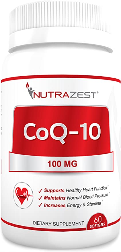 Nutrazest CoQ10 100mg - 100% Pure CoEnzyme Q-10 Benefits Cardiovascular Health, Energy and Stamina, Muscle Recovery, Brain Health & Supports Healthy Blood Pressure - All Natural Formula - 60 Softgels