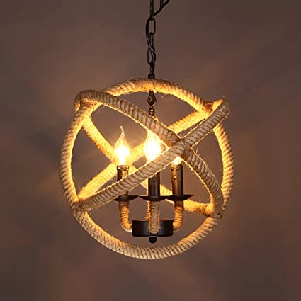 Industrial Iron Chandelier Retro 48 LED Round Candles Hemp Rope Awesome Chandelier Size For Dining Room Minimalist