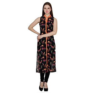 e4163f2350 Black Sleeveless collar Neck Regular Fit Animal Printed Abstract Straight  Kurti For Women