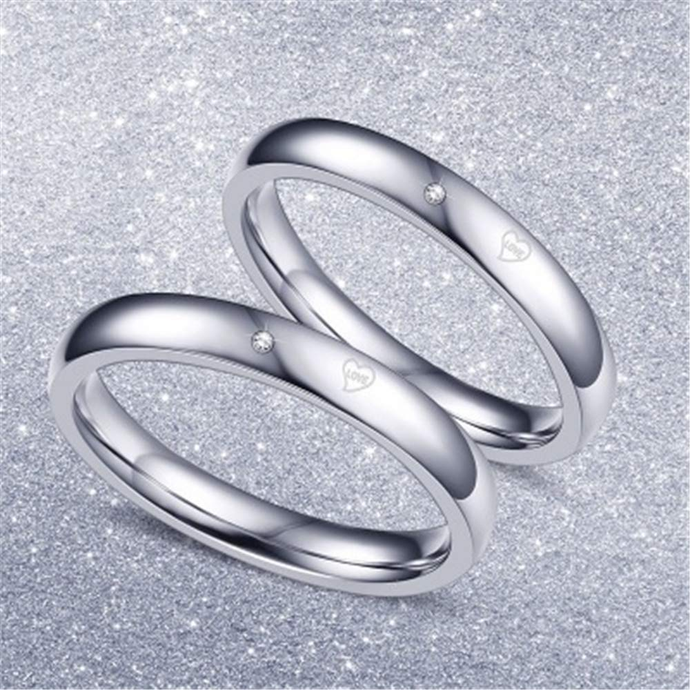 Smart.A Valentines Day Couple Diamond Ring Titanium Steel Diamond Ring 8.5