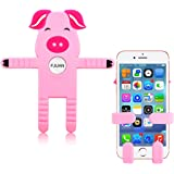 FJUAN Cute Universal Flexible Cell Phone Holder Silicon Car Mount Portable Adjustable Stand for iPhone 6 and Samsung Galaxy S6 Smartphone & Tablet (Pink)