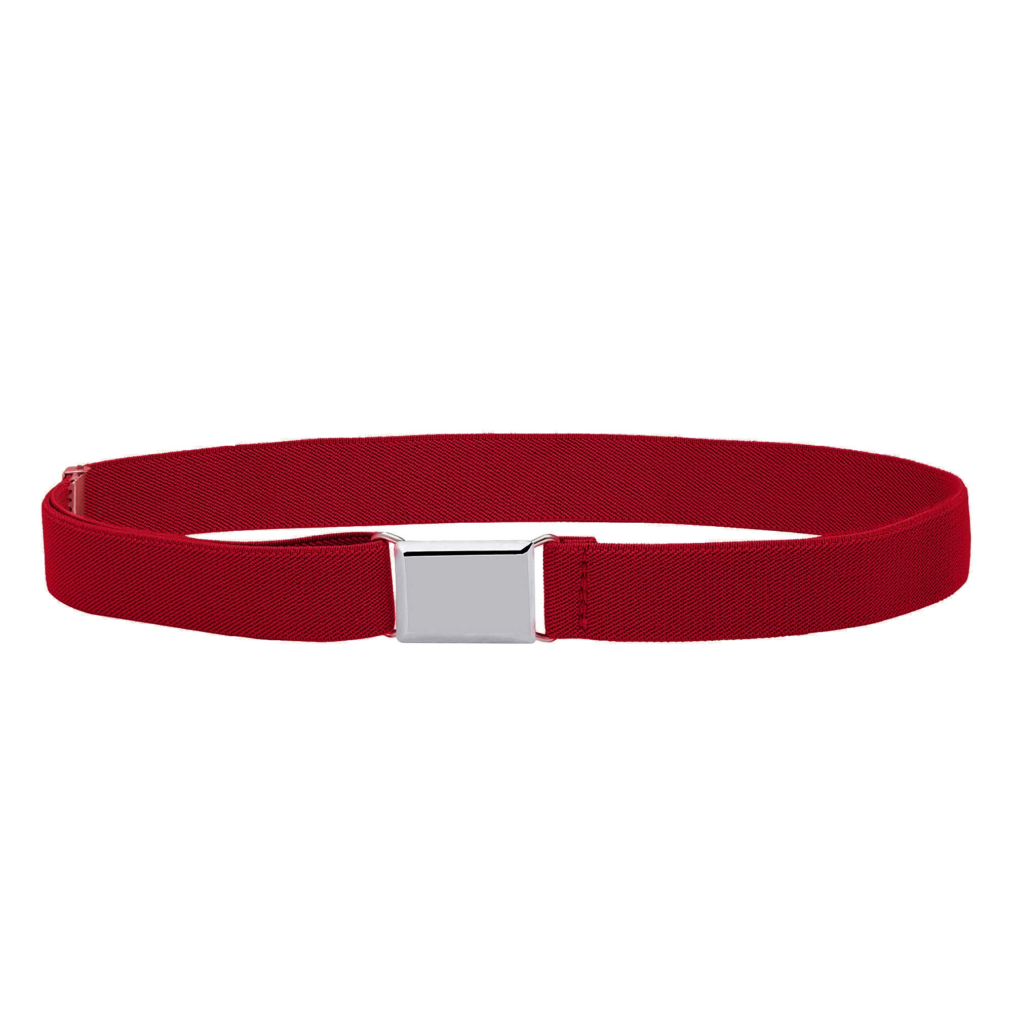 Buyless Fashion Kids and Baby Adjustable and Elastic Dress Stretch Belt with Silver Buckle - 5101-Red