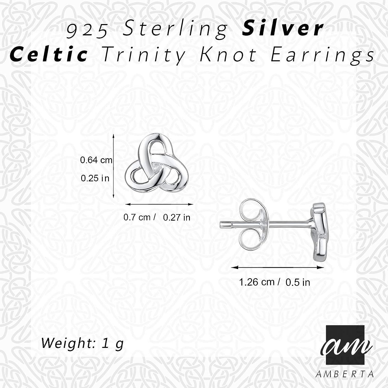 Clous pour Femme de Tendance Amberta Paire de Boucles DOreilles Celtiques en Argent Sterling 925