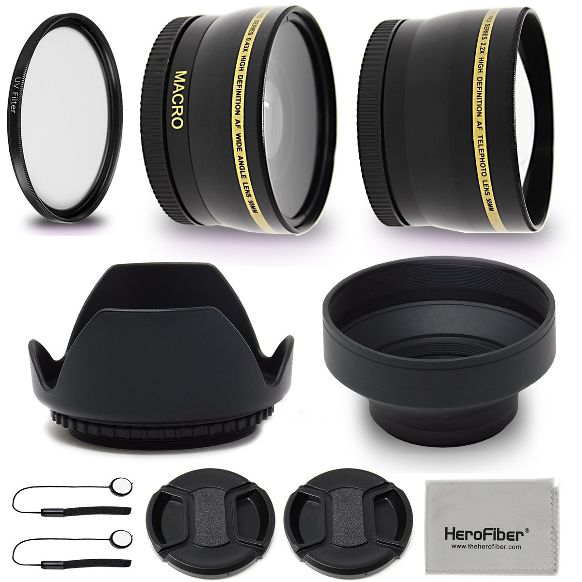 52mm Lens Accessories Kit with 52mm 2X Telephoto Lens Hood, 52mm Wide angle Lens, Lens Hood + more for For 52mm Lenses and Cameras including Nikon D5600, D850, D3400, D7500, D750, D500, D7200, D5500 by HeroFiber