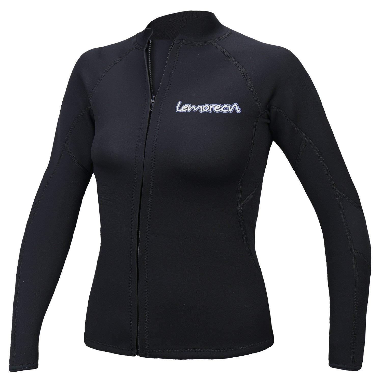 Lemorecn Womens 2mm Neoprene Long Sleeve Jacket Front Zipper Wetsuit Top (2098black-8) by Lemorecn