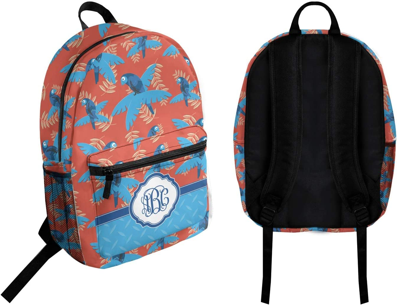 Personalized Blue Parrot Student Backpack