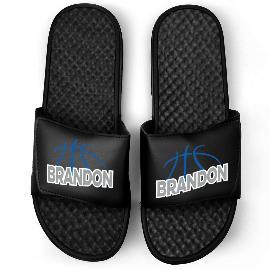 Customized Basketball Black Slide Sandals | Basketball Lines with Name | Size W5 | ROYAL