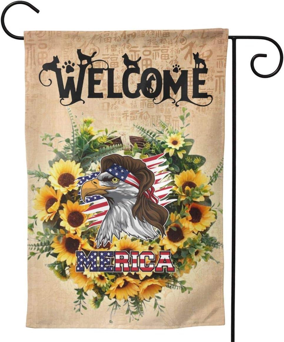 NINAINAI Welcome Sunflower Free Garden Flag, Outdoor Decorative Flags for Home House Garden Yard Lawn Patio, 12.5 X 18 Inch