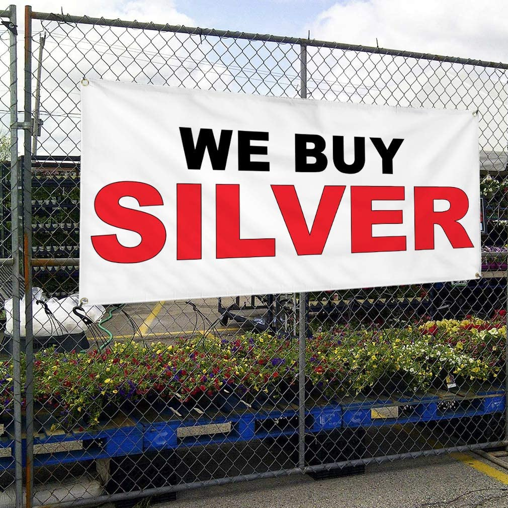 Vinyl Banner Multiple Sizes Pawn We Buy Diamonds Restaurant Cafe Bar Business Outdoor Weatherproof Industrial Yard Signs White 10 Grommets 60x144Inches