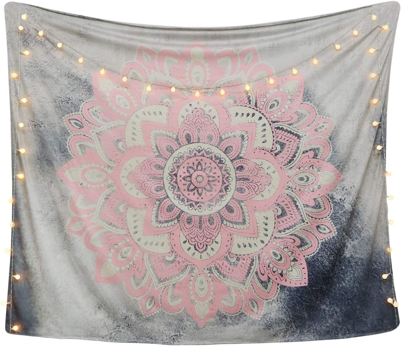 "LAVAY Tapestry Mandala Wall Hanging Decor Pink Gray Indian Hippie Bohemian Flower Gypsy Decoration Beach Blanket Dorm Room Bed Sheets (Pink Flower, M: 59""x52"")"