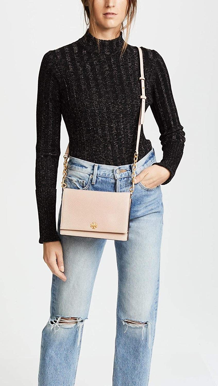 27d5cd75994 Tory Burch Georgia Pebbled Leather Combo Crossbody Bag Shell Pink   Handbags  Amazon.com