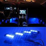 OUTERDO 車用 イルミネーション LEDライト 車内装飾用 自動車 カー用品 3個LED×4箇所分 ブルー