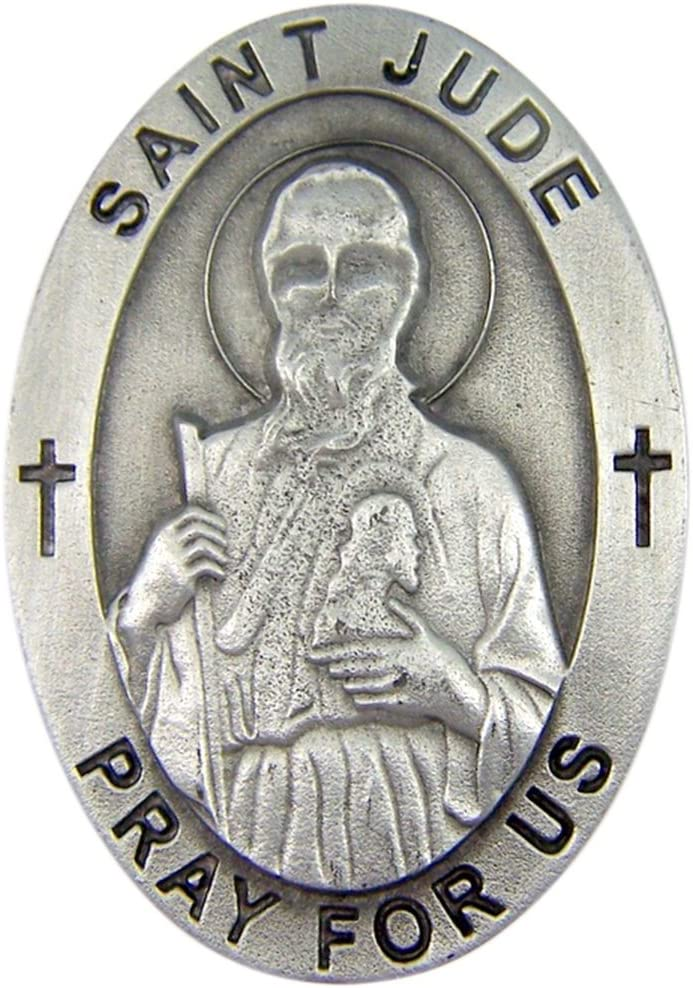 Religious Car Accessories Pewter Patron Saint Joseph Pray for Us Oval Auto Visor Clip 2 Inch