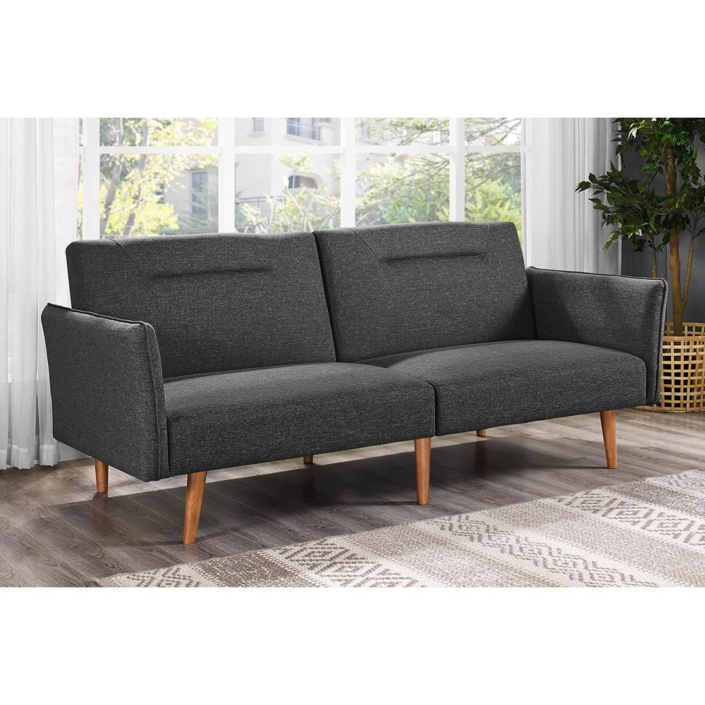 amazon    dhp brent futon couch with linen upholstery   grey linen  kitchen  u0026 dining amazon    dhp brent futon couch with linen upholstery   grey      rh   amazon