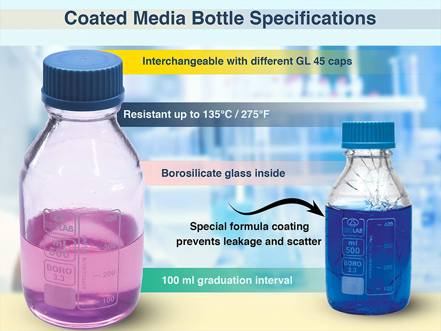 GL 45 Screw Cap ISOLAB USA Safety Coated Bottle Media//Reagent Style with Pouring Ring 500 mL Autoclavable Borosilicate Glass