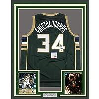 $549 » Framed Autographed/Signed Giannis Antetokounmpo 33x42 Milwaukee Green Basketball Jersey PSA/DNA COA