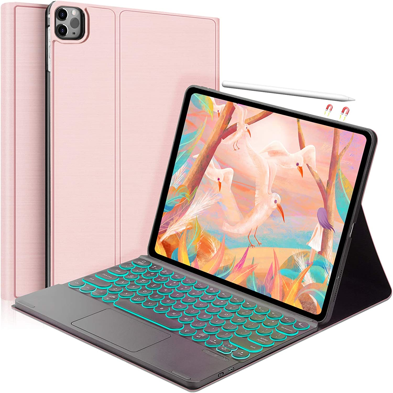 New Keyboard case for iPad Pro 12.9 4th Gen 2020/3rd Gen 2018 [Support Apple Pencil Charging]-Detachable-7 Color Backlit Touchpad Keyboard-Ultra Slim Folio Protective Cover -Rose Gold