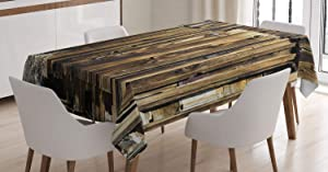 Ambesonne Rustic Tablecloth, Oak Barn Siding Door Cracked Rusted Hinges Dated Timber Mansion Farmland Nobody Design, Rectangular Table Cover for Dining Room Kitchen Decor, 60